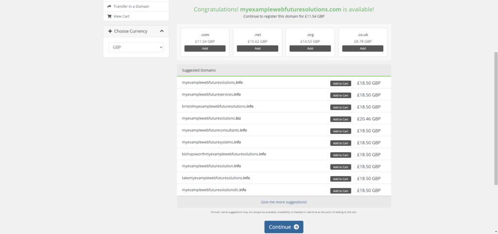 WebFutureSolutions Domain Price Options